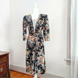 Vtg 1980s Cottagecore Witchy Sofa Floral Day Dress